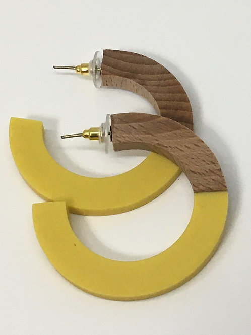 Ink+Alloy Yellow Hoop Wood And Resin Earring