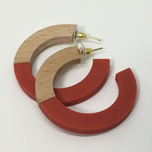 Ink+Alloy Red Hoop Wood And Resin Earring