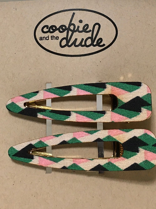 Wooden Hair Clips (Pink & Green) Pair