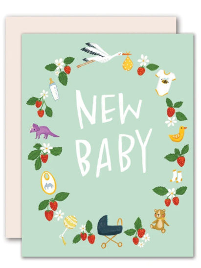 New Baby Card - Baby wreath