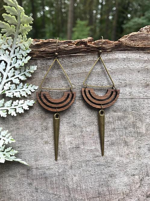Aztec Spear Wooden Earrings