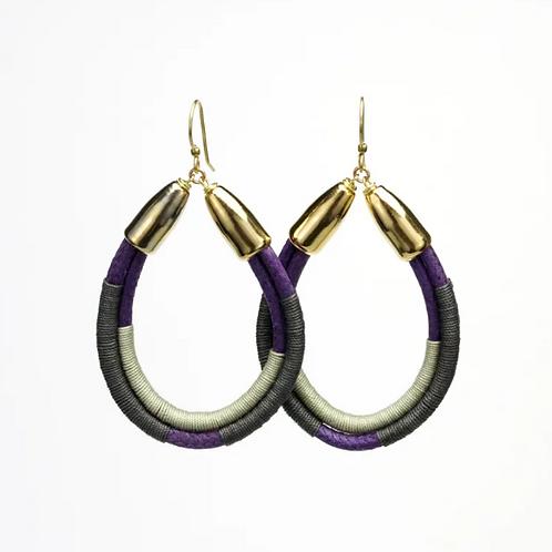 Moss Rope Hoop Earrings Purple/brown