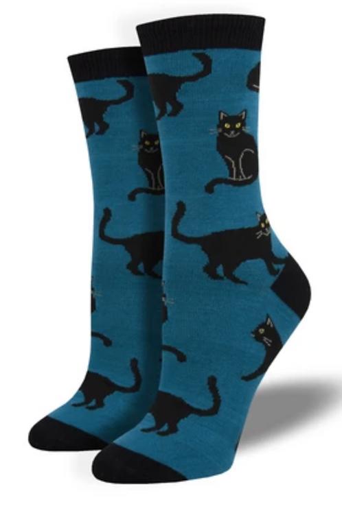 Black Cat Bamboo Socks - Blue - Women's
