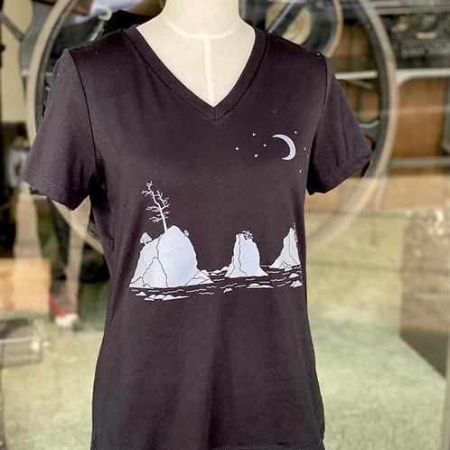 Moon Over Three Graces Women's V Neck T-Shirt