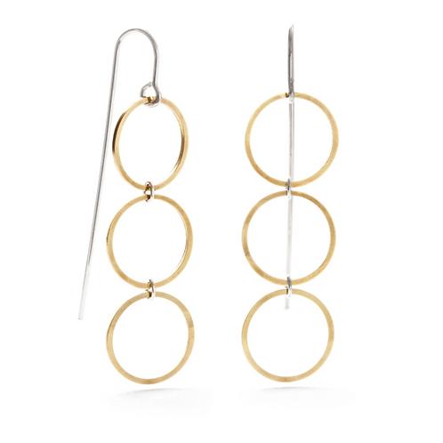 Geometric Threaders Small Circle Earrings