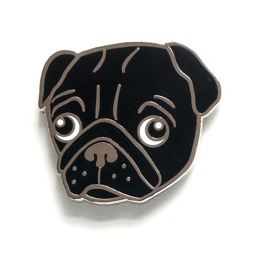 Black Pug Enamel Pin