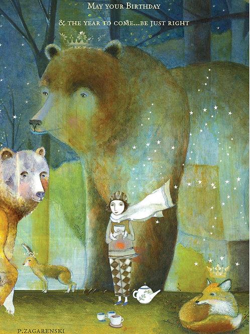 "Birthday Card - Bears, girl and fox ""May your Birthday..."""