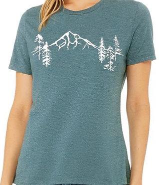 Mt Hood Forest T-Shirt - Women's Heather Deep Teal