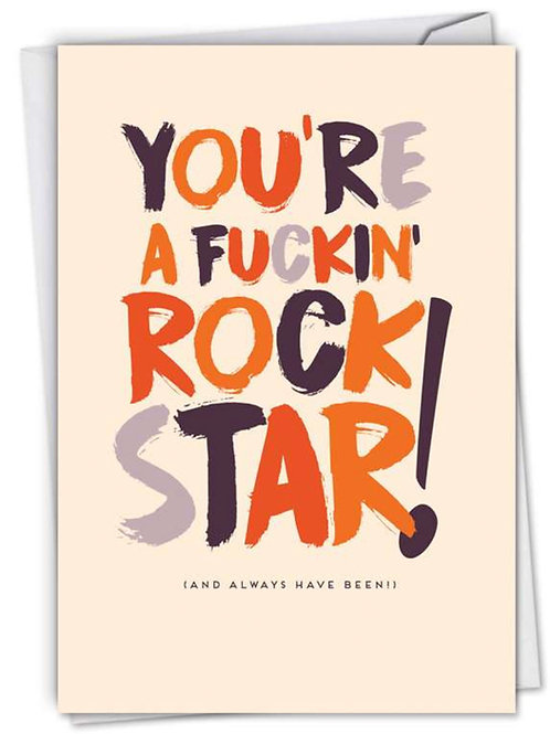 "Congratulations Card - ""You're a Fuckin' Rock Star"""