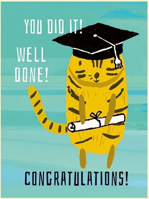 """Graduation Card - Cat in Cap with Diploma """"You Did it!"""