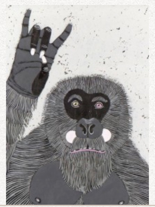 "Congratulations Card - Ape ""Rock On"" hand signal"