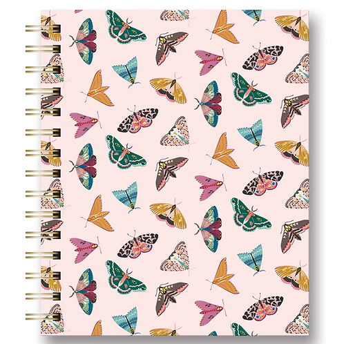 Tabbed Spiral Notebook: Floral Moths