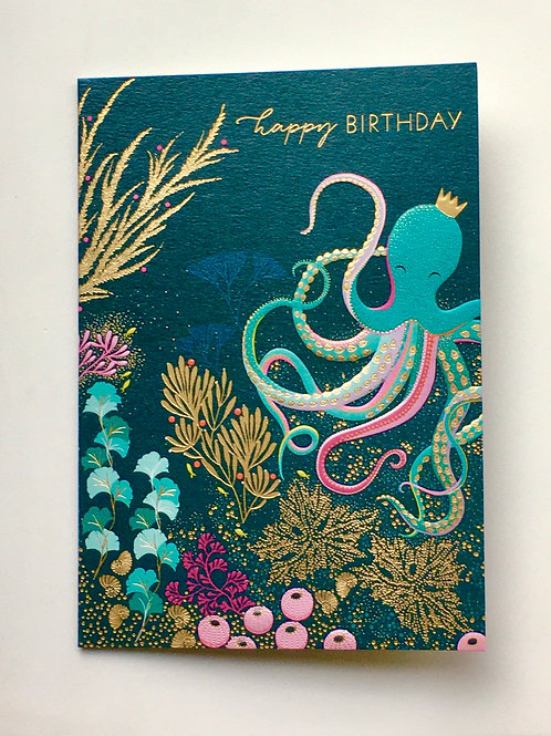 Birthday Card - Octopus with crown