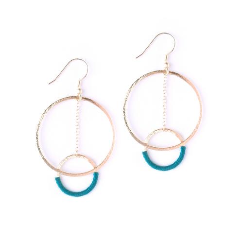 Thread And Hoop Emerald Earrings