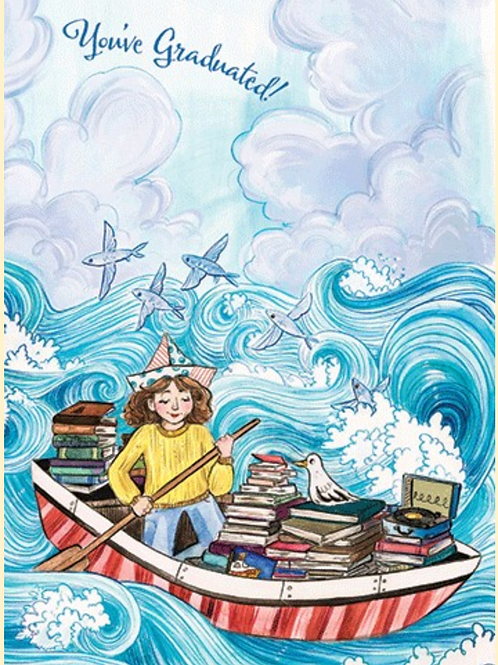 Graduation Card - Girl in boat with books