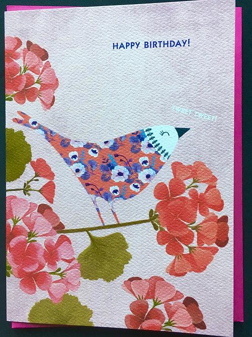 Bird on Flower Birthday Card