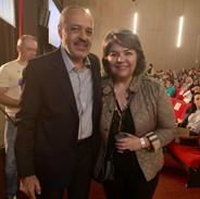 Luis Moraes, diretor do Supera e organizador do evento, e Lina Menezes (Tudo sobre Alzheimer - Faz Muito Bem)