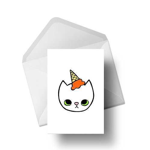 ice cream cat | Greeting Cards