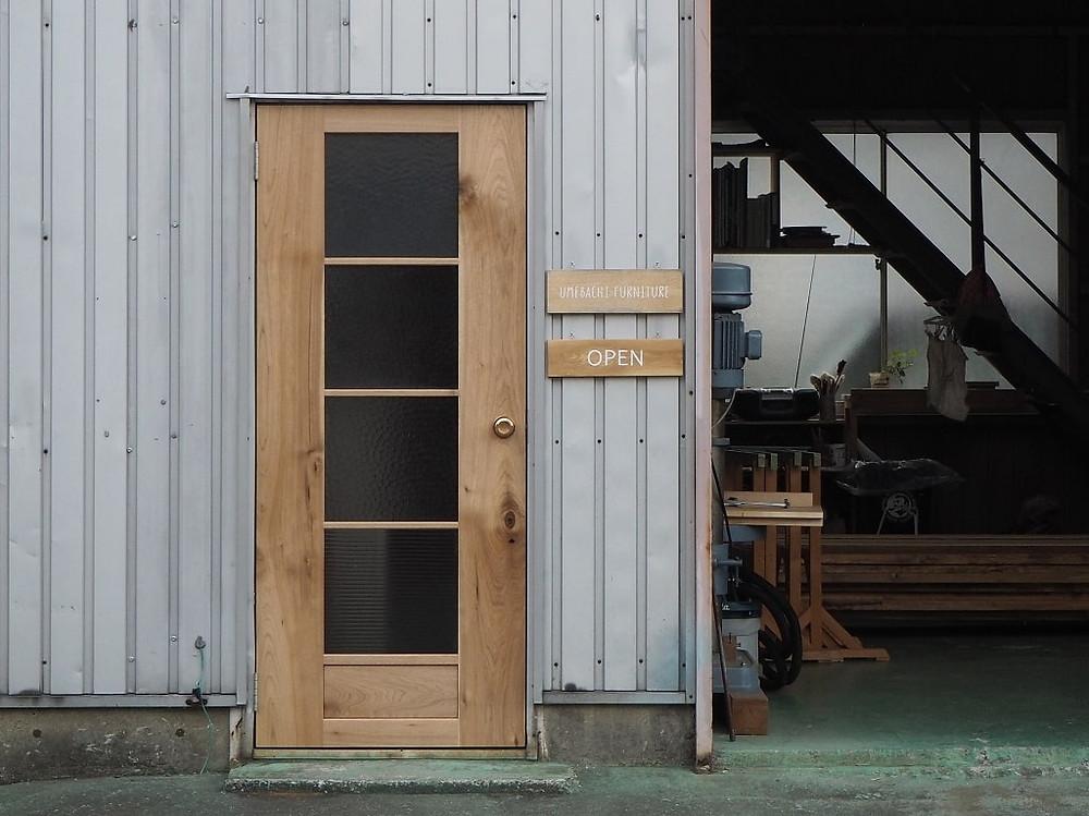 昭和レトロなガラスを再利用したドア