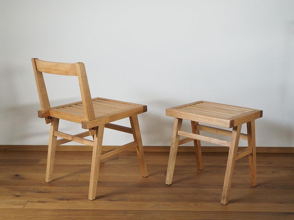 オニグルミで製作した椅子とスツール