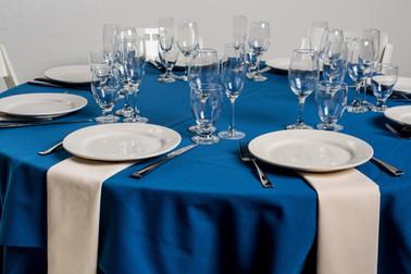 Royal Blue Table + Ivory Napkins