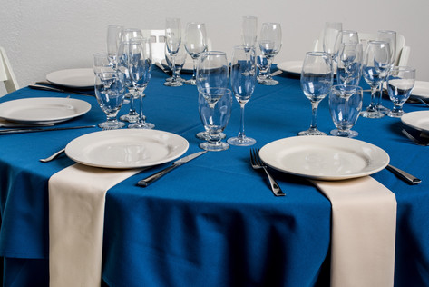 Royal Blue Table + Ivory Napkins