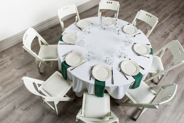 White Table + Forest Green Napkins