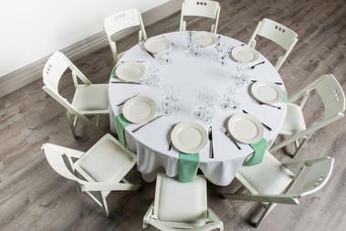 White Table + Seafoam Green Napkins