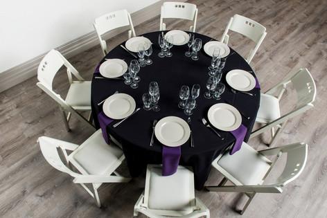 Black Table + Purple Napkins