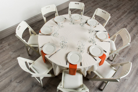 Ivory Table + Burnt Orange Napkins