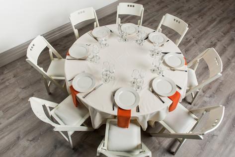 Ivory Table + Burnt Orange Napkins