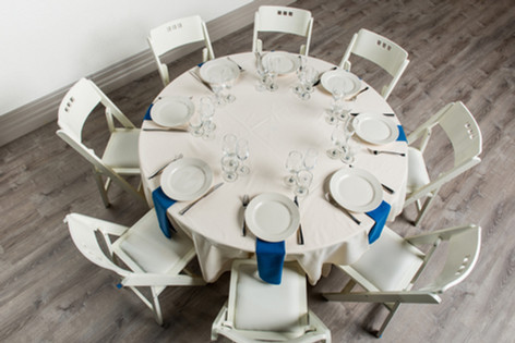 Ivory Table + Royal Blue Napkins