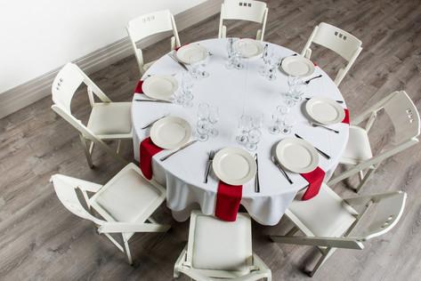 White Table + Red Napkins