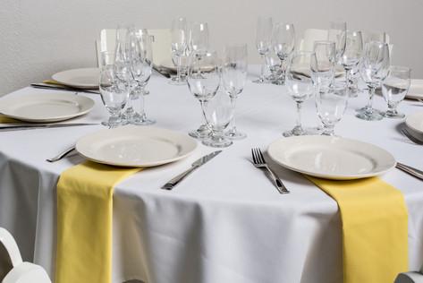 White Table + Yellow Napkins