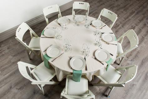 Ivory Table + Seafoam Green Napkins