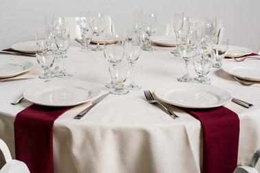 Ivory Table + Burgundy Napkins