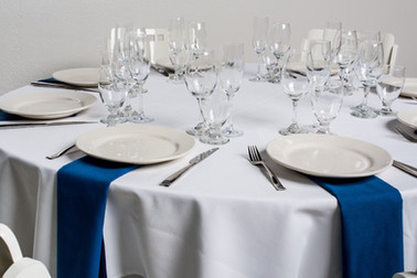 White Table + Royal Blue Napkins