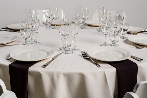 Ivory Table + Brown Napkins
