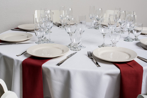 White Table + Rust Napkins