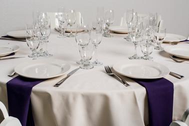 Ivory Table + Purple Napkins