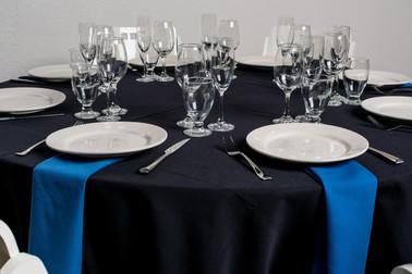 Black Table + Royal Blue Napkins