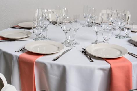 White Table + Peach Napkins