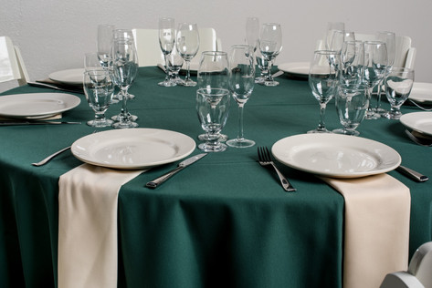 Forest Green Table + Ivory Napkins