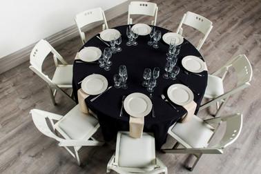 Black Table + Ivory Napkins