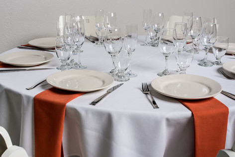 White Table + Burnt Orange Napkins