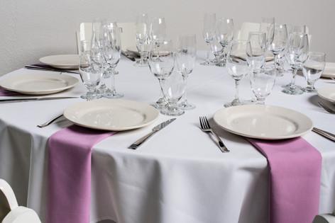 White Table + Violet Napkins