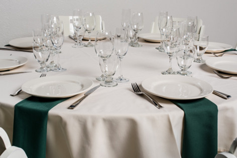 Ivory Table + Forest Green Napkins
