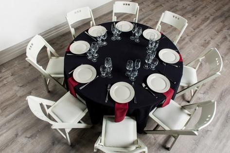 Black Table + Burgundy Napkins