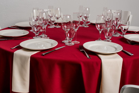 Red Table + Ivory Napkins