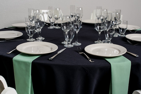 Black Table + Seafoam Green Napkins